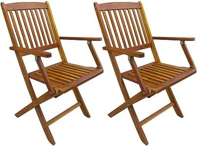 vidaXL - 2 sillas de jardín de Madera de Acacia con reposabrazos ...
