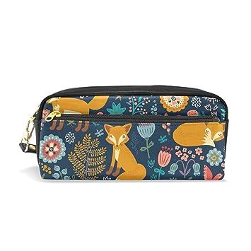 Otoño Animal Fox Floral Estuche Estuche Portatodo Estuche de ...