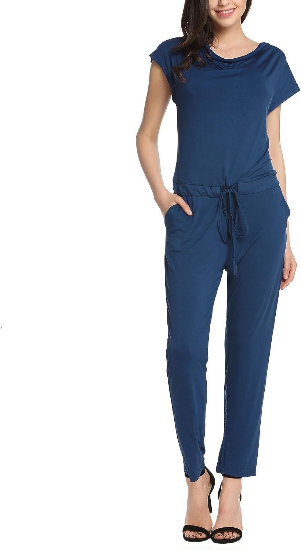 Beyove Damen eleganter Jumpsuit Overall Mit Wasserfallkragen und ausgefallener Schn/ürung an der H/üfte mit Blumen