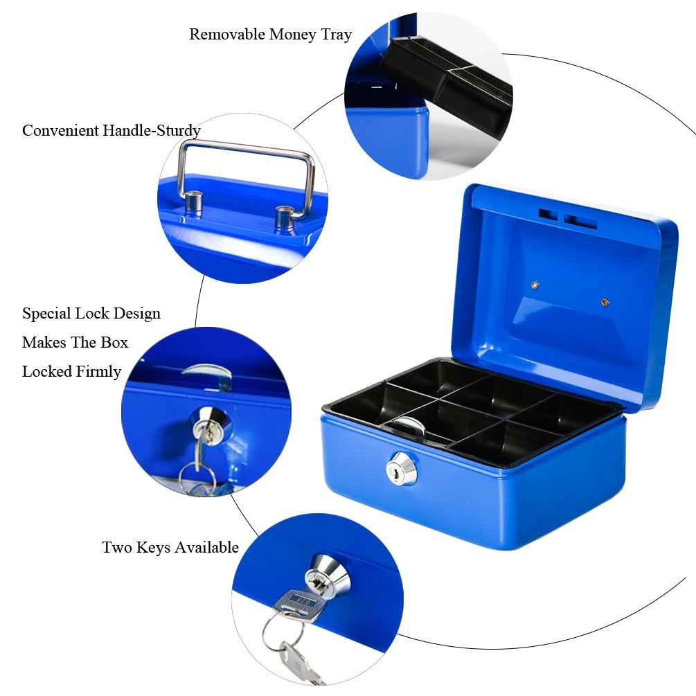Jssmst Small Locking Cash Box with Money Tray 5.9 x 4.7 x 3.2 inches CB013-L Lock Money Box for Kids Blue