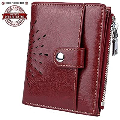 YALUXE Women's RFID Blocking Security Leather Small Billfold Wallet with Coin Pocket