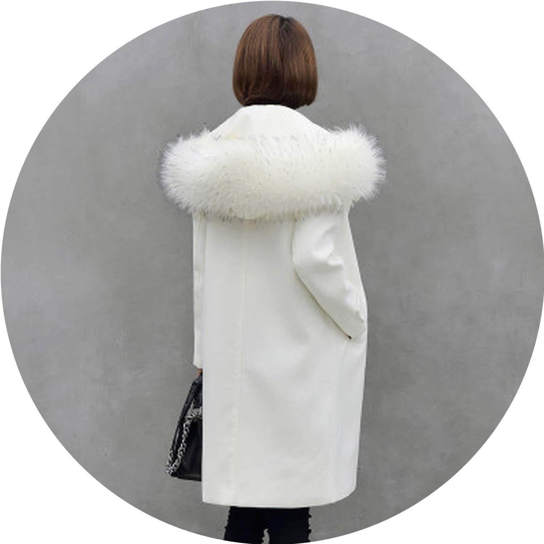 Beige Dreamedge Winter Coat Women Woolen Coat Female Slim Long Single Faux Fur Collar Wool Casacos