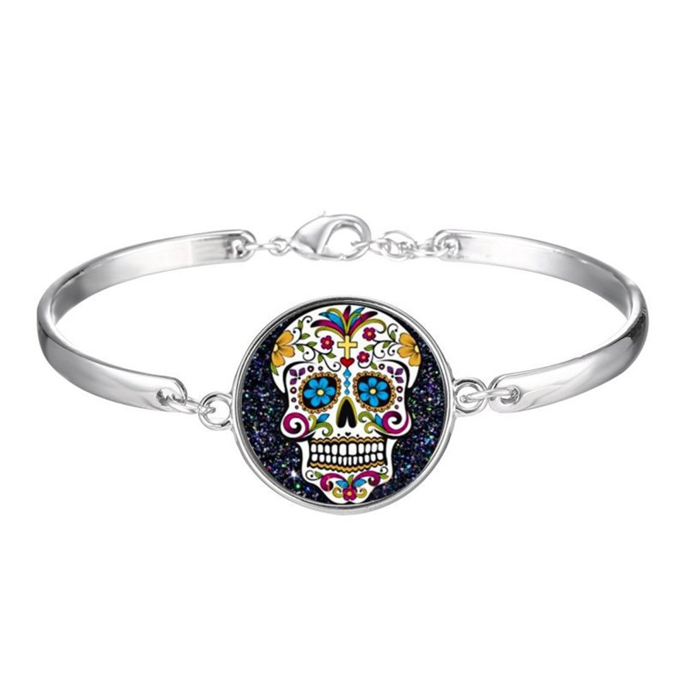 Sterling Silver Plated Bohemia Style Round Skull Head Cuff Open Adjustable Bracelet,Lobster clasp