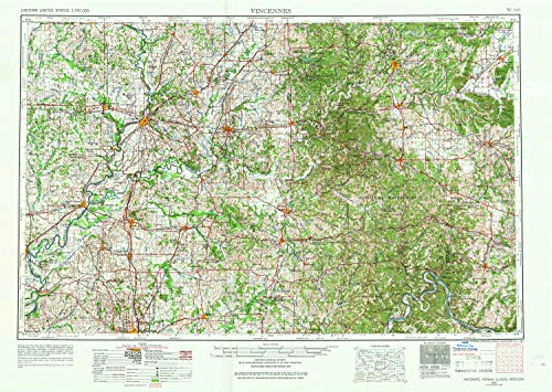 Schrodt Wood (YellowMaps Vincennes in topo map, 1:250000 Scale, 1 X 2 Degree, Historical, 1956, Updated 1967, 22.1 x 31.3 in - Paper)