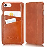 KAVAJ iPhone 8 iPhone 7 Case Leather Dallas Cognac-Brown Slim-Fit Genuine Leather iPhone 8 Wallet Case Leather Flip Case Folio with Business Card Holder Cover Book Case for Apple iPhone8