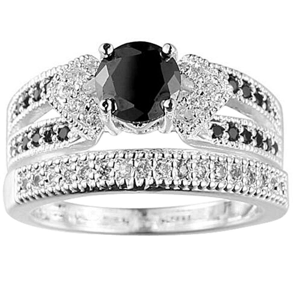 Women 925 Sterling Silver 2 PCS Cushion Cut Black Cubic Zirconia CZ Diamond Bridal Wedding Ring Set 7