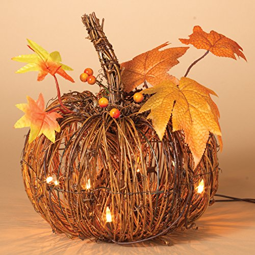 One Holiday Lane Lighted Twig Pumpkin with Maple Leaves - Harvest Fall Decoration