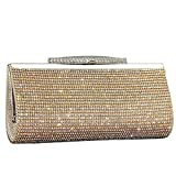 IBELLA Womens Glitter Sequin Clutch Bag Crystal Diamante Sparkly Silver Gold Black Evening Bridal Prom Party Handbag Purse (Gold)