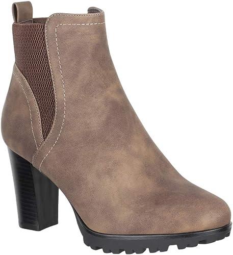 Elara Damen Stiefeletten Ankle Boots Chunkyrayan