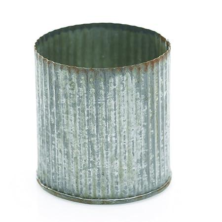 "Rustic Tin Vase, Corrugated Sides, 3.25x3.25"", Galvanized Metal, 6pk"