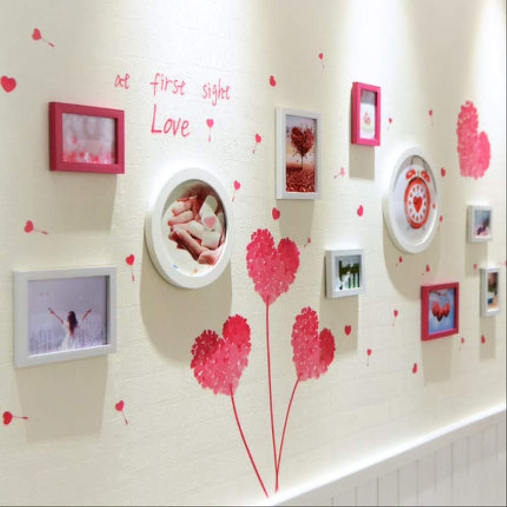 Xiaoqingxin YKDDII Picture Frames 10 Pcs Photo Frame With Wall Sticker For Living Room Round & Rectangle Picture Frame Hanging Wall Diy Frame Set Classic Fashion Multi-function Photo Frame