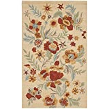 Safavieh Blossom Collection BLM915B Handmade Beige and Multi Premium Wool Area Rug (4′ x 6′) For Sale