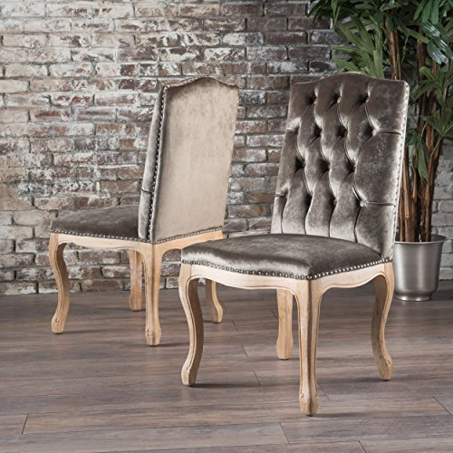 Cello Grey New Velvet Dining Chairs (Set of 2) by Great Deal Furniture (Image #8)
