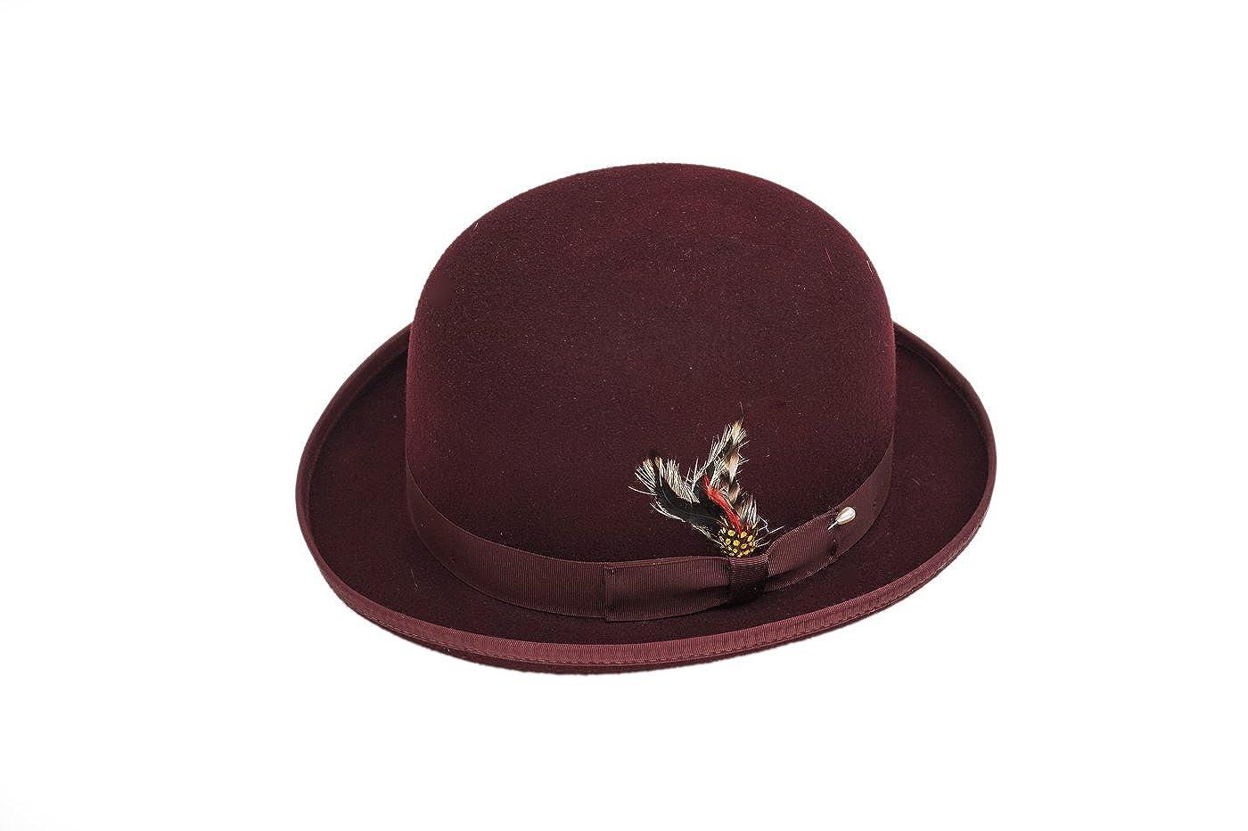 Amazon.com  New Mens 100% Wool Burgundy (Maroon   Dark Red) Derby Bowler Hat   Clothing ba4380ac540