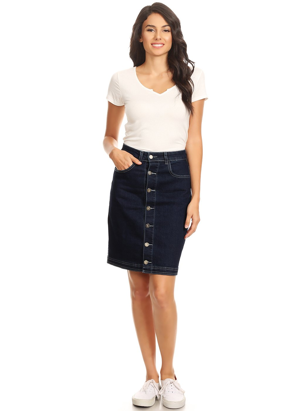 Anna-Kaci Womens Vintage Stretch Denim Jean Button Flare Skirt with Side Pocket, Indigo, Medium