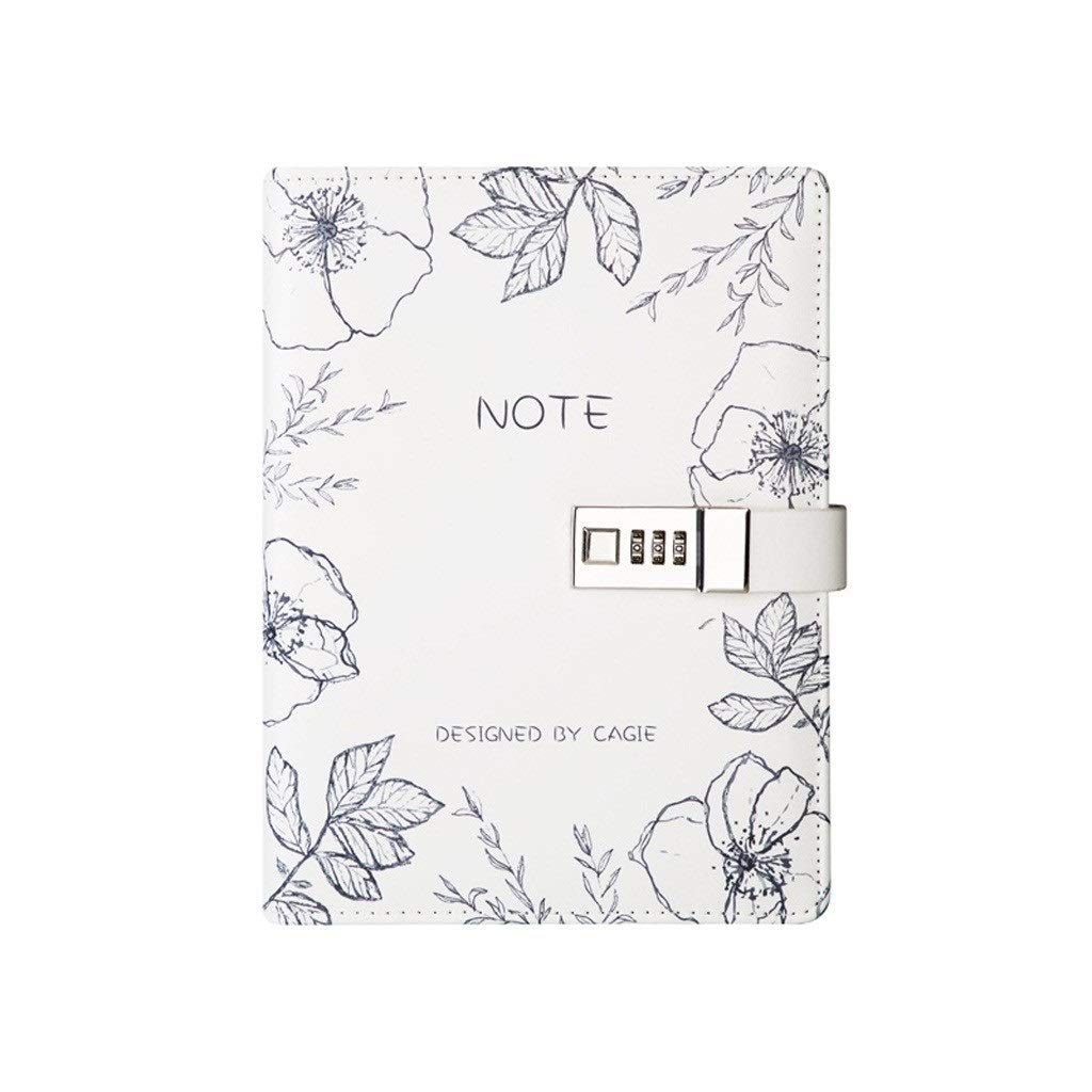 Steno Notebooks A5 Creative Handbook This Loose-Leaf Note Book with Lock Password Planner Portable Diary Book Portable Notebook Wirebound Notebooks (Color : White, Size : 17.523.3cm) by Love lamp