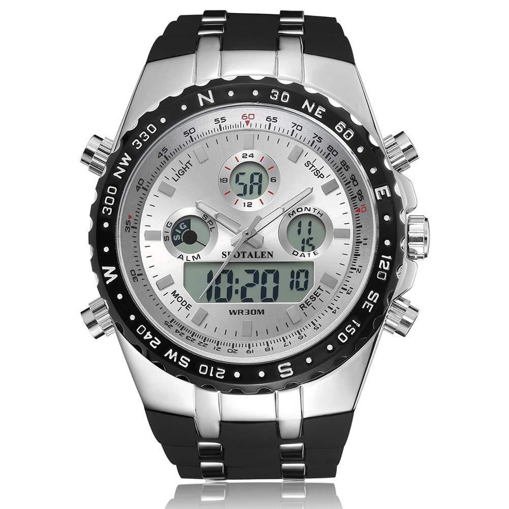 腕時計 メンズ腕時計 スポーツウォッチ 多機能 ミリタリー アナデジ 時計 防水 日付曜日 ブラック 1606 リフォーム