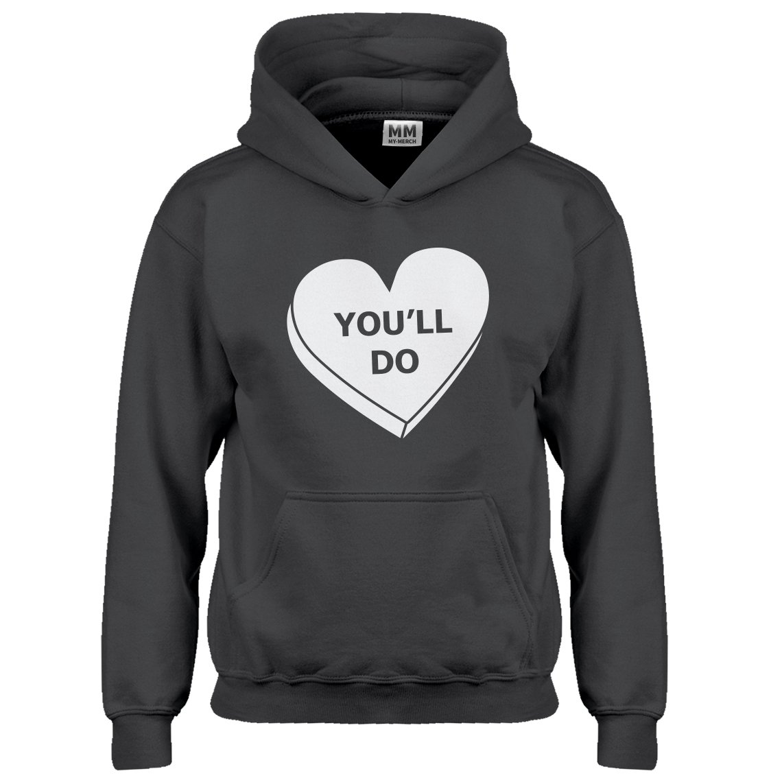 Indica Plateau Kids Hoodie You'll Do Valentines Day Medium Charcoal Grey Hoodie