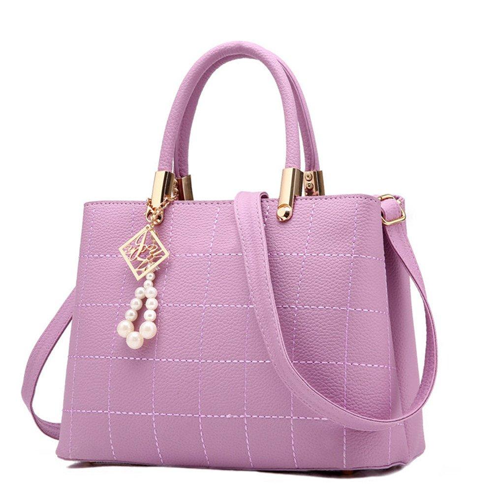 Handbags Women PU Leather Shoulder Bag For Female Ladies Plaid Crossbody Bag Fashion Handbag Purple