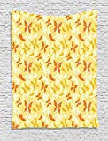 Yellow and White Tapestry, Butterfly Pattern with Swirls Romantic Animals of Spring, Wall Hanging for Bedroom Living Room Dorm, 60 W X 80 L Inches, Orange Yellow Earth Yellow