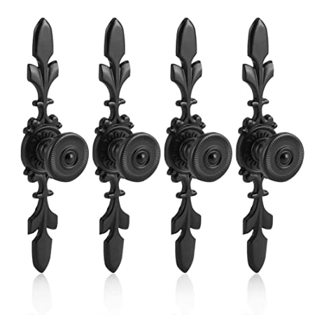 Fdit 4pcs Vintage Style Pull Handle Door Knob Back Plate For Home