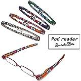 【ポッドリーダー スマート スリム】超軽量 コンパクトな折りたたみ式 老眼鏡 8色 +1.0~+3.0 胸ポケットに入るサイズ Podreader