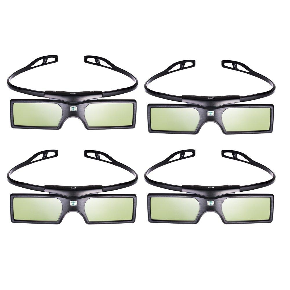 Pergear® 3D Active Shutter Glasses Bluetooth Eyewear Glasses for Samsung/SONY/Panasonic/Konka/LG/Toshiba Bluetooth 3D TVs (4 PCS)