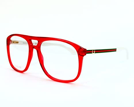 4d0bd1cd10 Gucci Men s 1019 Red   White Arms With Red - Green Stripe Frame Plastic  Eyeglasses