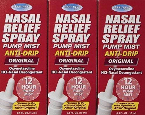 Nasal Relief Spray - 12 Hour Anti-drip Pump Mist 0.5 FL. OZ. (3 Pack) by Assured