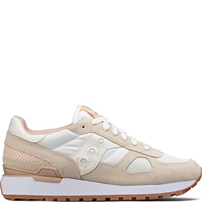 Sneaker Saucony Shadow 5000 in white, cream and red suede and nylon