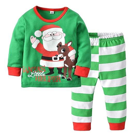 AIKSSOO 2Pcs Toddler Baby Boys Outfit Pajamas Set Santa Print Top+Striped  Pants Size 80 87f1deccf