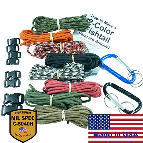 Dakota Gear Paracord Survival Bracelet and MilSpec Montage 8 Color Kit