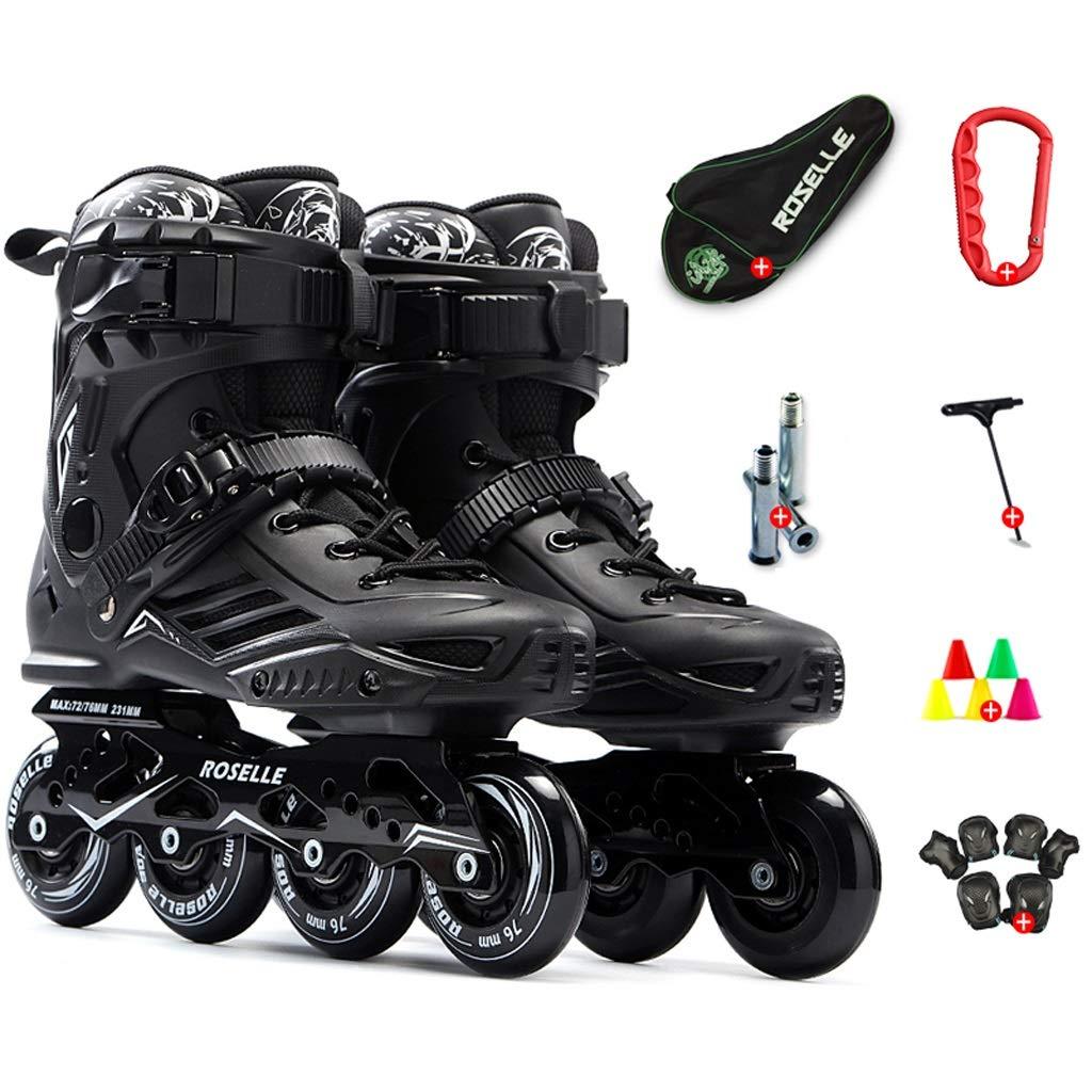 XZ15 インラインスケート、男性と女性専門の単一の行のスケート靴は、35から46ヤードスケート靴を高速化 (Color : 黒, Size : EU 45/US 12/UK 11/JP 27.5cm) 黒 EU 45/US 12/UK 11/JP 27.5cm