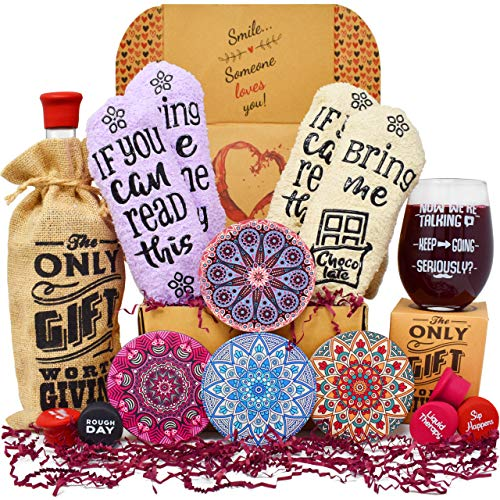(Gift Baskets for Women Best Mothers Day Gifts: 2 pairs of Funny socks, Stemless Funny glass, Coasters for drinks, Bottle stoppers and a Bottle tote. Perfect Surprise Birthday Gifts for)