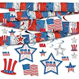 Red White and Blue Fourth of July Party Assorted Room Decorating Kit, foil, Pack of 22
