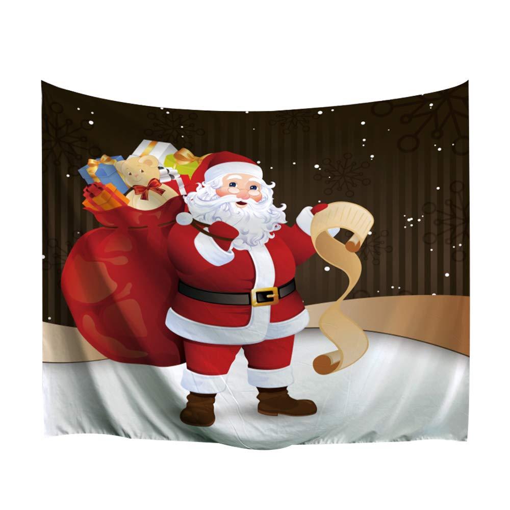 153x130cm 3D Xmas Printed Polyester Fabric Holiday Wall Tapestry Art Santa Claus BEWAVE Christmas Decorations Wall Hanging