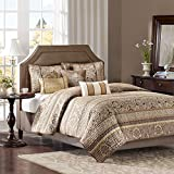 5 Piece Brown Gold Luxury Jacquard Stripes Pattern Coverlet Full Queen Set, Elegance High-End Rich Damask Motif Textural Stripe-Inspired Embroidered Design, Classic Style, Vibrant Colors, Polyester