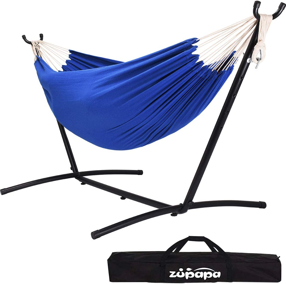 Zupapa Double Hammock with Stand and Carrying Case, 10Feet Hammock Frame, 2 People Hammock Combo for Backyard Garden Patio Indoor Outdoor Blue