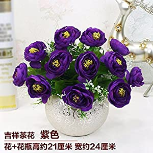 LighSCH Artificial Flowers Fake Bouquet Dining Table Plastic Camellia Purple 12