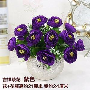LighSCH Artificial Flowers Fake Bouquet Dining Table Plastic Camellia Purple 67