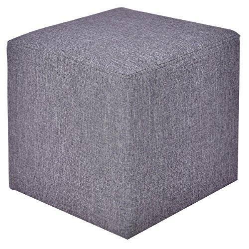 Ottoman Storage Box Square Foot Stool Footstools Seat Wood Frame Footrest Linen Gray by Caraya