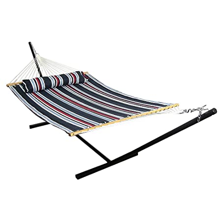 Sunnydaze 2 Person Double Hammock with 12 Foot Portable Steel Stand Spreader Bar, Quilted Fabric Bed, Nautical Stripe