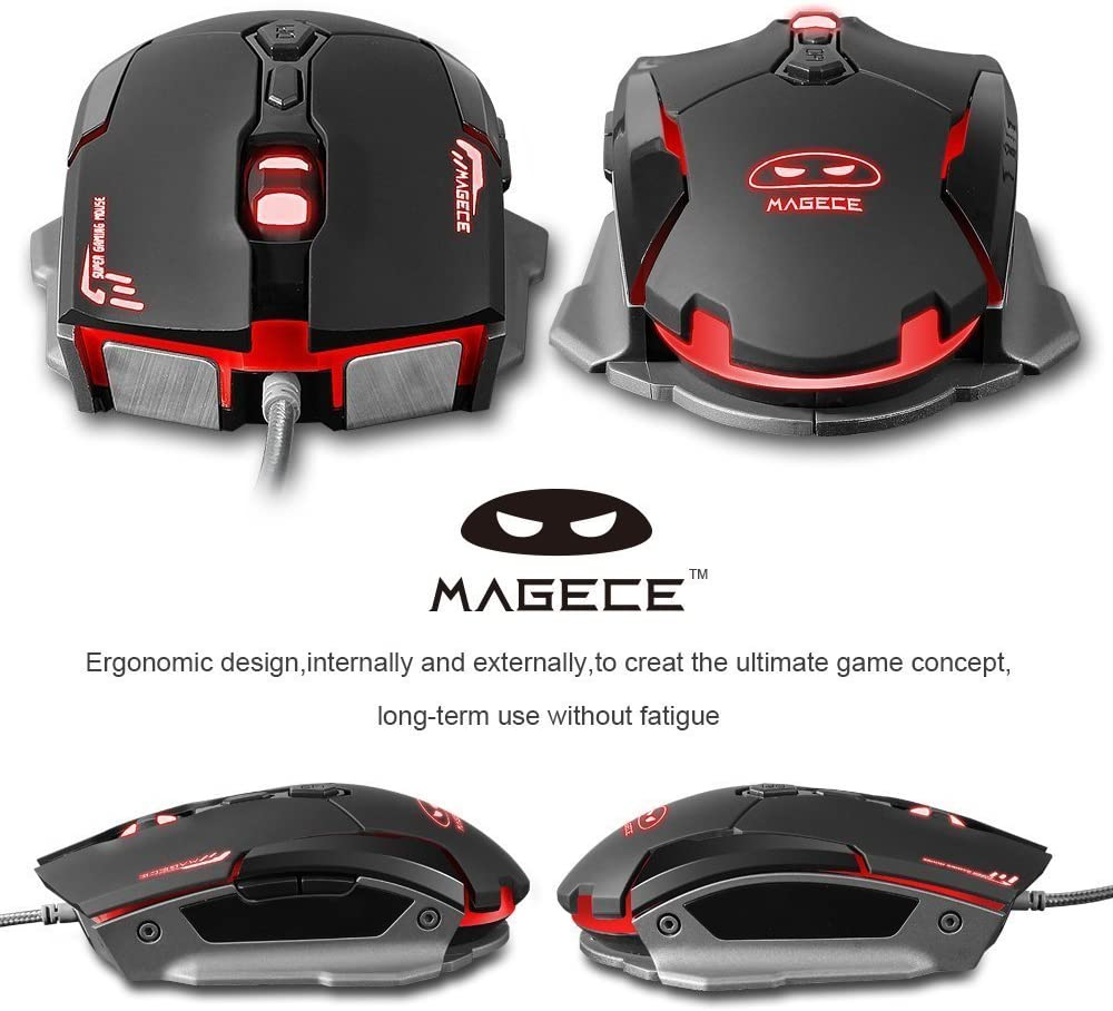 Yanni G2 Wired USB Computer Optical Gaming Mouse Mice 6 Buttons 3200 DPI LEDs for PC Mac Lumix Black