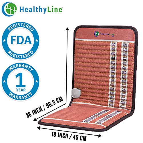 HealthyLine Natural Far Infrared Heated Pad, Car Seat or Cushions - Back Pain Relief, Joint Stiffness | 38