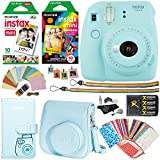 Fujifilm Instax Mini 9 Instant Camera (Ice Blue), 1 Rainbow Film Pack, 1 Single Pack (White) Instant Film, case , 4 AA Rechargeable Battery's with charger, Square Photo Frames & Accessory Bundle