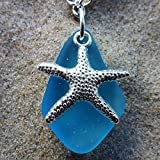 """light aqua blue sea glass ocean amulet talisman necklace for girls and women on a 24"""" silver color chain with nautical starfish delicate elegant young surf beach prime handmade seaglass jewelry mascot"""