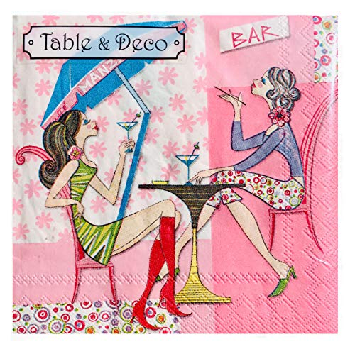 Table & Deco BFF Girls Night Out Cocktail Beverage Napkins, 40 ct