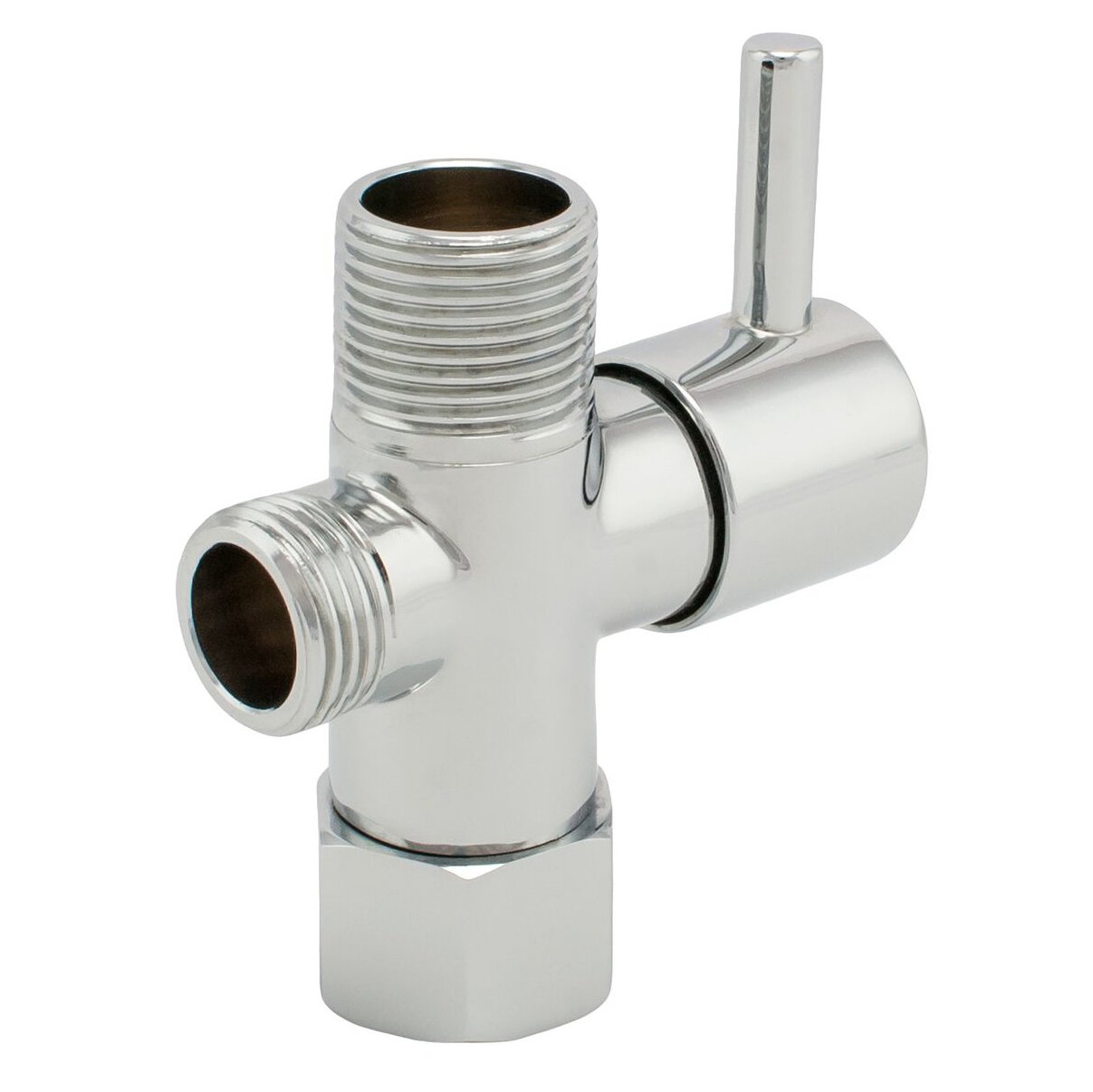 ShowerMaxx Traditional Metal Brass Diverter with Shut-off, T-adapter Valve Polished Chrome 3-way Tee Connector for Handheld Bidet and Sprayer 15/16'' Male and G 1/2, Fits Standard Bathroom Toilet