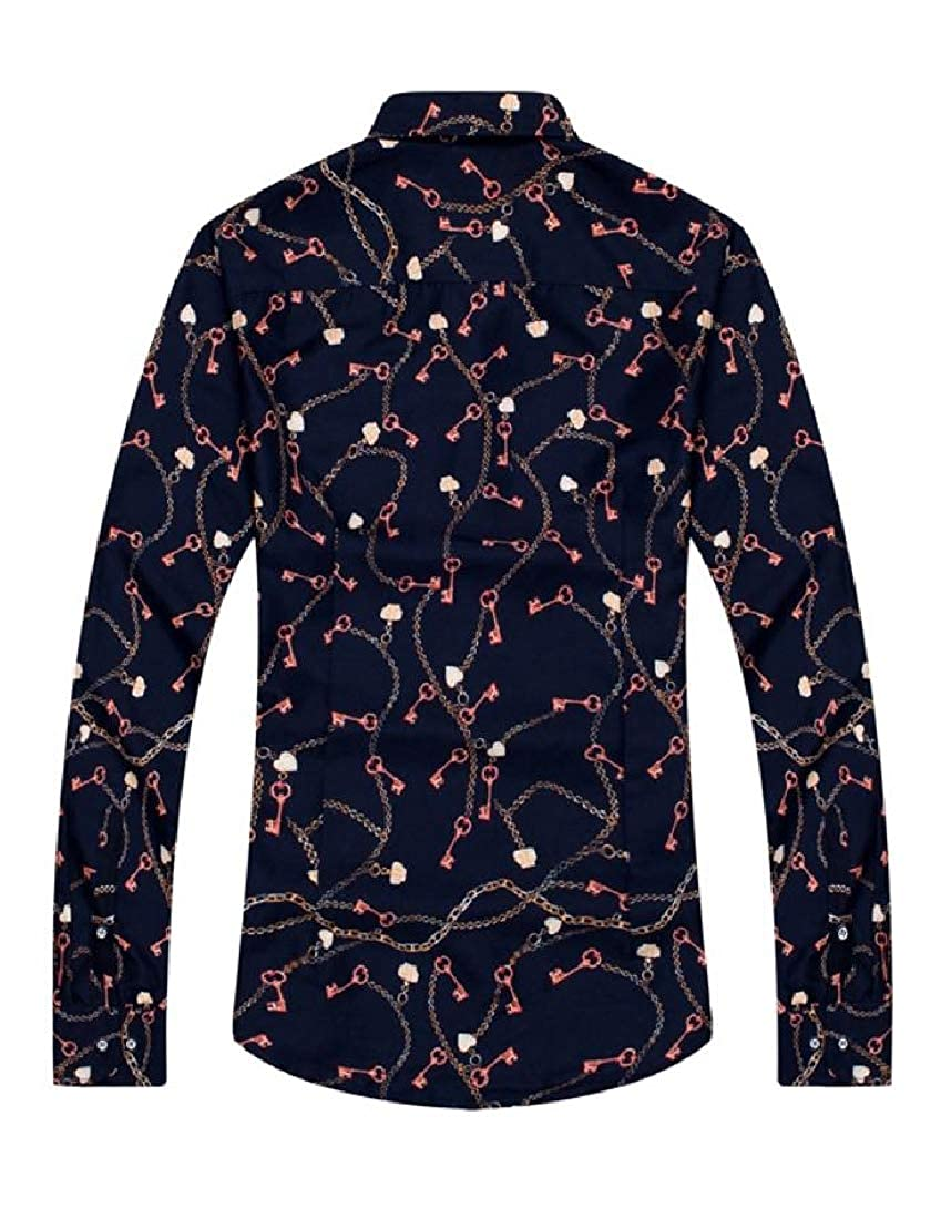 Cromoncent Mens Turn Down Printing Tops Button Up Shirts