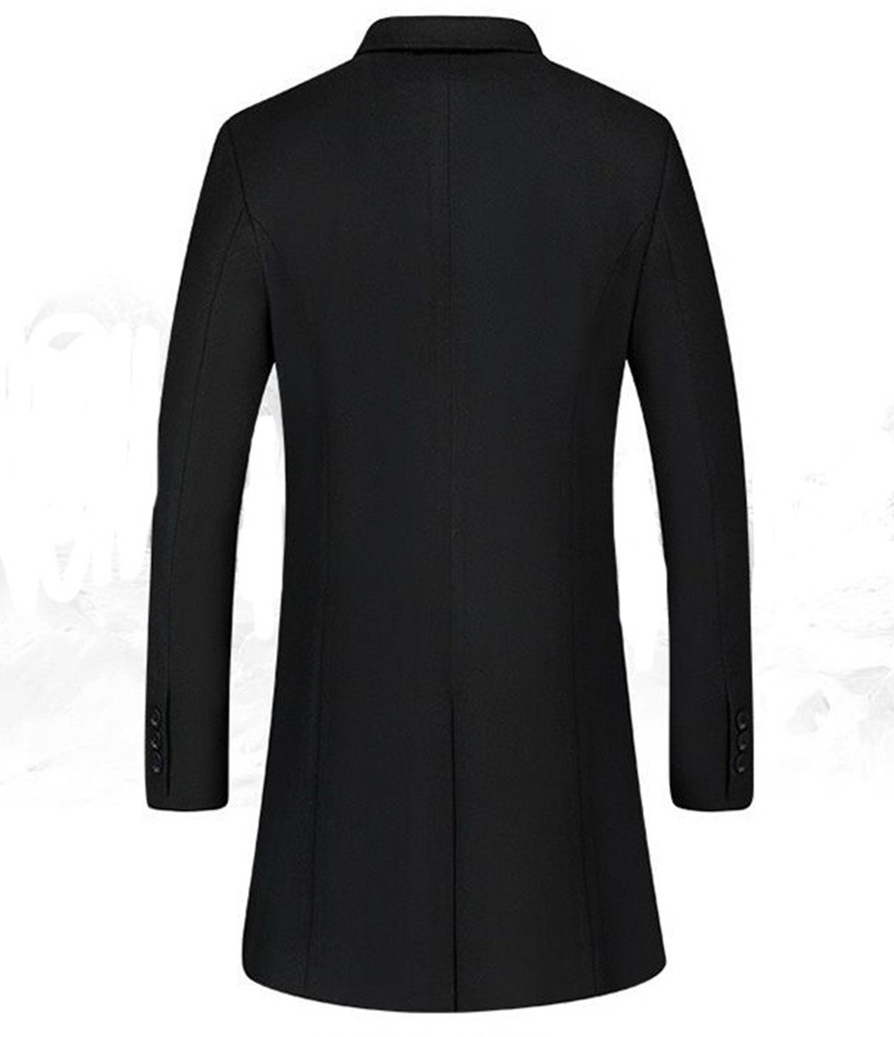 Men's Warm Wool Trench Coat Long Fashion Slim Fit Winter Overcoat Single Breasted (X-Small, Black) by JEWOSOR (Image #2)
